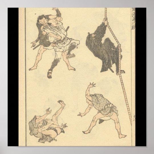 Sketches of Japanese Martial arts, Ninja c. 1800's Poster