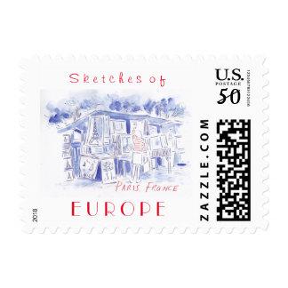 Sketches of Paris France postage stamp