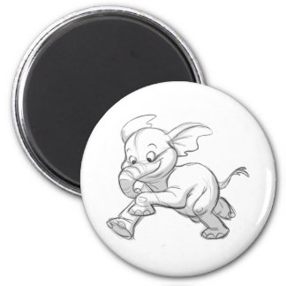 Sketchy Baby Elephant 2 Inch Round Magnet