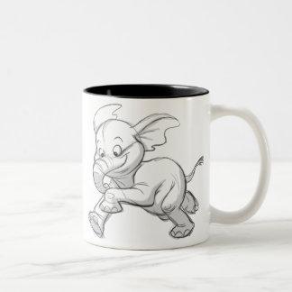 Sketchy Baby Elephant Two-Tone Coffee Mug