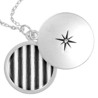Sketchy Black & White Stripe Locket Necklace