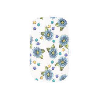 Sketchy Blue Flowers Minx Nail Art