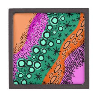 Sketchy Bright Geometric Shape Pattern Premium Trinket Box