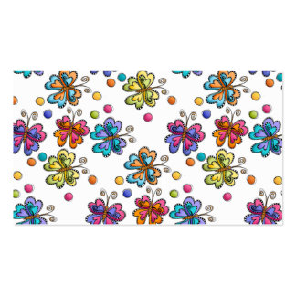 Sketchy Butterflies & Dots Business Card Template