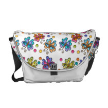 Sketchy Butterflies & Dots Courier Bag
