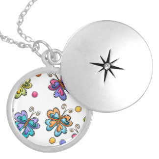 Sketchy Butterflies & Dots Silver Plated Necklace