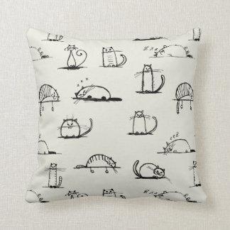 Sketchy cats throw pillow