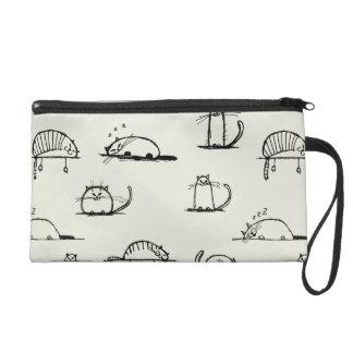 Sketchy cats wristlet purse