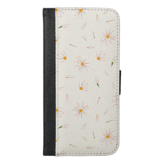 Sketchy daisy flower pattern - floral pattern iPhone 6/6s plus wallet case