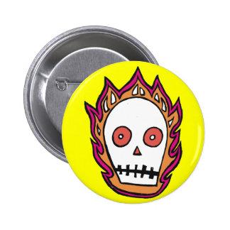 Sketchy Flaming Skull Pinback Button