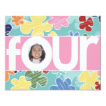 """Sketchy Flowers 4th Birthday Party Pink 4.25"""" X 5.5"""" Invitation Card"""