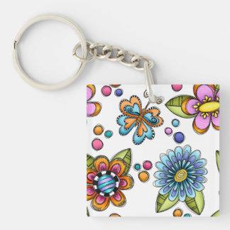 Sketchy Flowers & Butterflies Keychain
