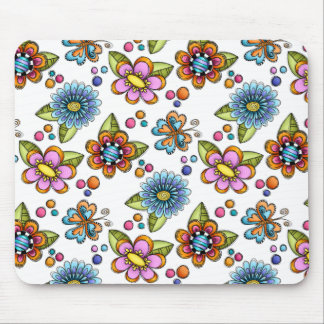 Sketchy Flowers & Butterflies Mouse Pad