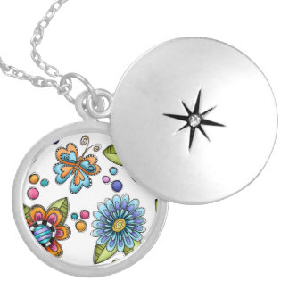 Sketchy Flowers & Butterflies Silver Plated Necklace