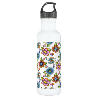 Sketchy Flowers & Butterflies Stainless Steel Water Bottle