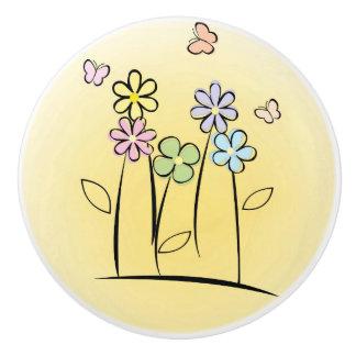 Sketchy Flowers Ceramic Pull or Knob