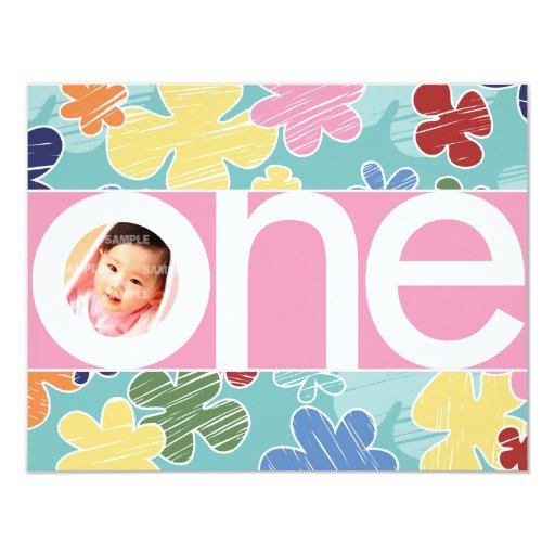 """Sketchy Flowers First Birthday Pink 4.25"""" X 5.5"""" Invitation Card"""