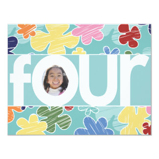 Sketchy Flowers Fourth Birthday Party Teal Card