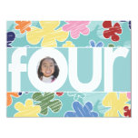 """Sketchy Flowers Fourth Birthday Party Teal 4.25"""" X 5.5"""" Invitation Card"""