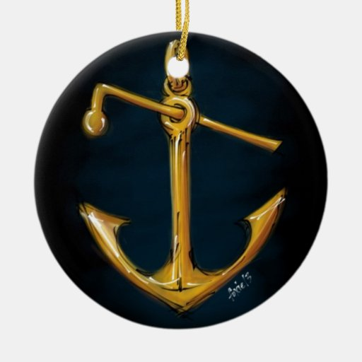 Sketchy hand drawn golden anchor Double-Sided ceramic round christmas ornament