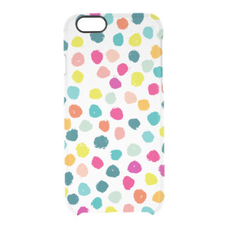 Sketchy Happy Color Dots Clear iPhone 6/6S Case