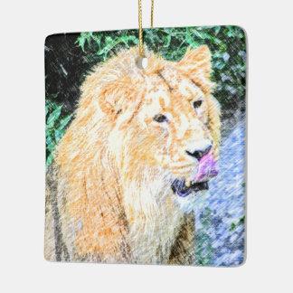sketchy lion king ceramic ornament