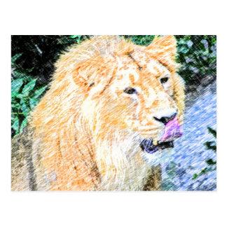 sketchy lion king postcard