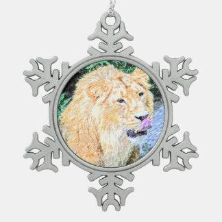 sketchy lion king snowflake pewter christmas ornament