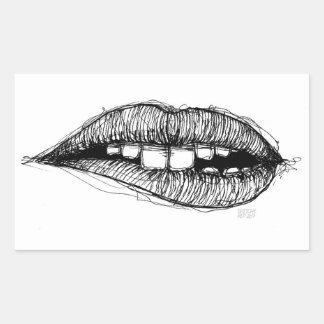 Sketchy Lips Rectangular Sticker