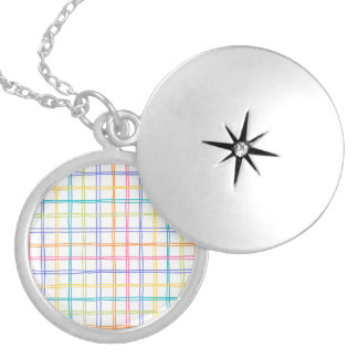 Sketchy Multicolor Plaid Silver Plated Necklace