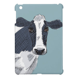Sketchy Painted Cow in Blue Tones iPad Mini Cover