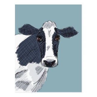 Sketchy Painted Cow in Blue Tones Postcard