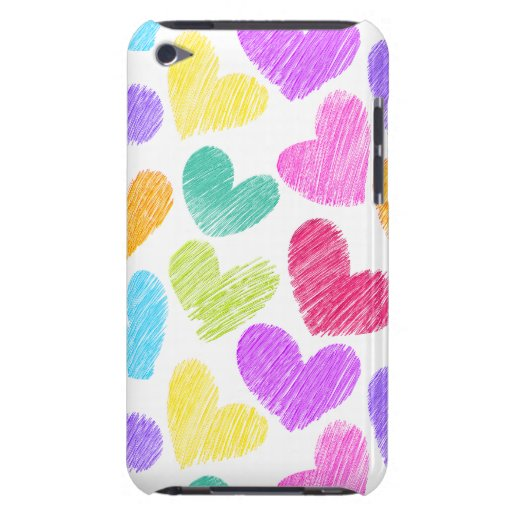 Sketchy pastel love hearts pattern iPod Case-Mate case