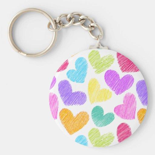Sketchy pastel love hearts pattern keychain