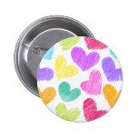 Sketchy pastel love hearts pattern pinback button