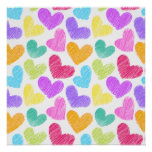 Sketchy pastel love hearts pattern posters