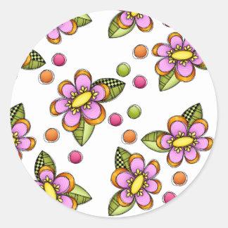 Sketchy Pink Flower Classic Round Sticker