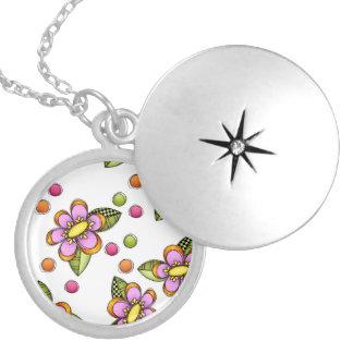 Sketchy Pink Flower Locket Necklace