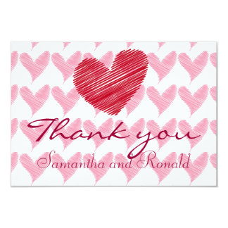 Sketchy Red and Pink Hearts Wedding Thank You Card
