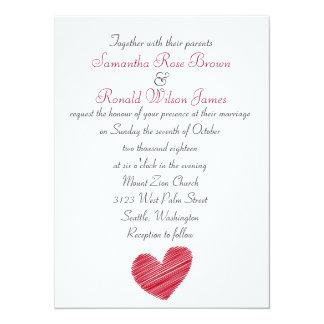 Sketchy Red Heart Wedding Invitation