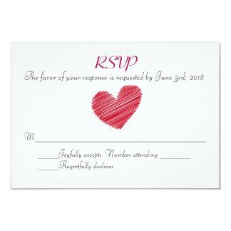 Sketchy Red Heart Wedding RSVP card