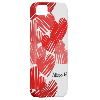 Sketchy Red hearts with name iPhone 5 Case iPhone 5 Cover