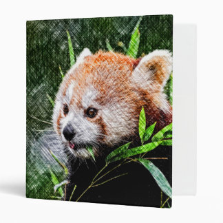 sketchy red panda 3 ring binder