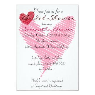 Sketchy Red & Pink Heart Bridal Shower Invitation