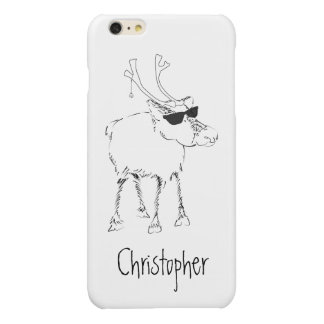 Sketchy Reindeer with Sunglasses and Jingle Bell Glossy iPhone 6 Plus Case
