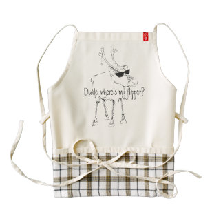 Sketchy Reindeer with Sunglasses and No Flipper Zazzle HEART Apron