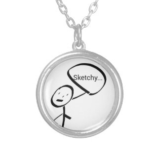 Sketchy Round Pendant Necklace