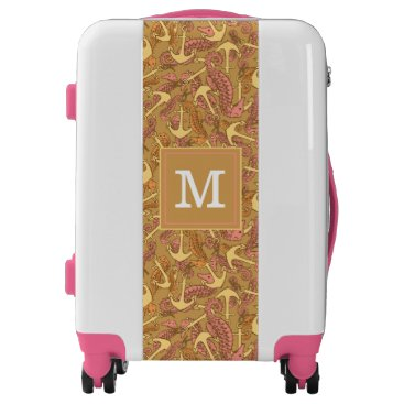 Beach Themed Sketchy Seahorse And Anchor Pattern| Add Your Init Luggage