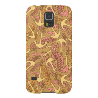 Sketchy Seahorse And Anchor Pattern Galaxy S5 Cover