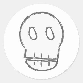 Sketchy Skull Classic Round Sticker